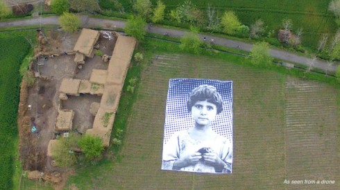 A portrait of a drone victim in Pakistan as seen from a drone. (notabugsplat.com)